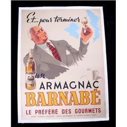 1946 Armagnac Barnabe D'Amour Liquor Ad. Poster
