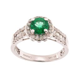 Emerald & Diamond 14K White Gold Ring w/ Papers