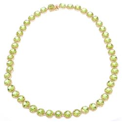 57.58 ct Peridot Yellow Gold Overlay 925 Necklace