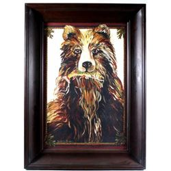 "Signed Suzanne Etienne ""The Bear"" Painting"