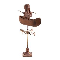 American Folk Art Indian Chief in Canoe Whirligig