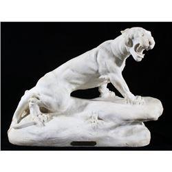 19th Century Signed Alabaster Tiger Sculpture