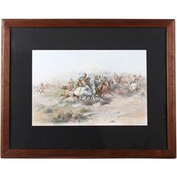 Original CM Russell Chromolithograph Custer Fight