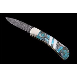 Kingman Turquoise & Raindrop Damascus Knife