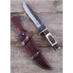 M.T. Knives Blackfoot Indian Chief Scrimshaw Knife