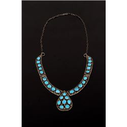 Signed Navajo Sterling Silver & Turquoise Necklace