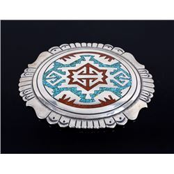 Navajo Branch Coral & Turquoise Chip Belt Buckle