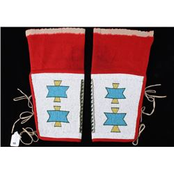 Lakota Sioux Fully Beaded Men's Leggings c. 1900-