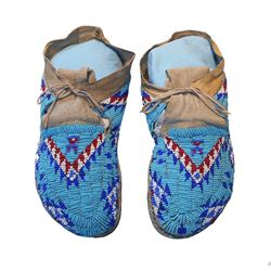Arapaho Fully Beaded Moccasins circa 1900-1910