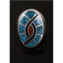 Zuni Chipped Multi stone Inlay Hummingbird Ring