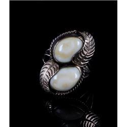Signed Navajo Elk Ivory Gold Finish Sterling Ring