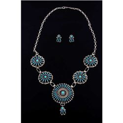 Signed Zuni Petite Point Turquoise Silver Necklace