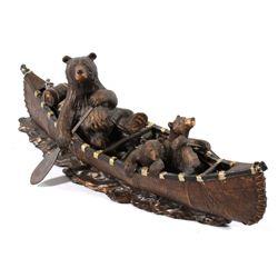 Big Sky Carvers Bears Canoeing Sculpture