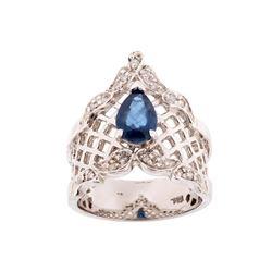 Montana Sapphire & Diamond 14K White Gold Ring