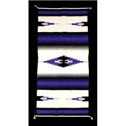 Mexican Hand Woven Banded Storm Pattern Wool Rug