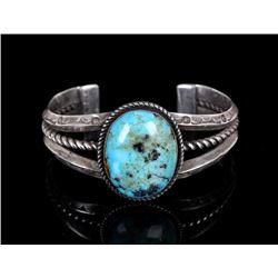 Navajo Silver and Kingman Turquoise Bracelet