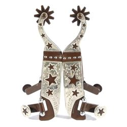 Western Steel and Silver Etched Spurs