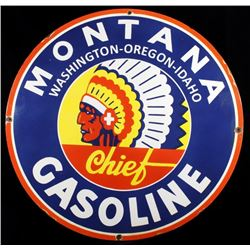 Montana Chief Gasoline Enamel Advertising Sign