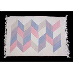 Mexican Zapotec Chevron Print Wool Rug