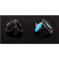 Navajo Old Pawn Set Of Four Turquoise & Onyx Rings