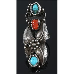 Signed Navajo Turquoise & Coral Cocktail Ring