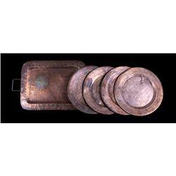 Antique Hammered Copper Dining Set