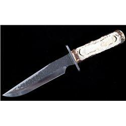 Custom Carved Antler Eagle Knife w/ Stand