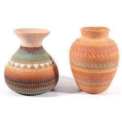 Signed Navajo Polychrome Pottery Jars