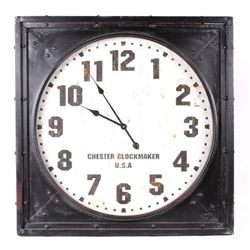 Large Chester Clockmaker U.S.A Machined Wall Clock