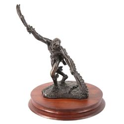 Signed Eagle Dancer Bronze Statue by C.A Pardell