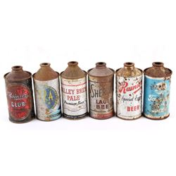 Collection of Six Cone Top Beer Cans