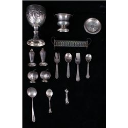 Collection of 15 Marked Silver Stamped Utensils