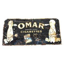 Omar Turkish Blend Cigarettes Tin Advertising Sign
