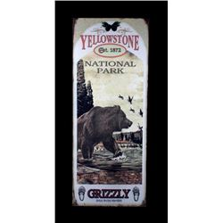Yellowstone National Park Grizzly Bear Metal Sign