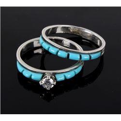 Navajo Turquoise and Diamond Wedding Ring Set