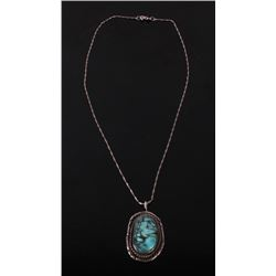 Navajo Lone Mountain Turquoise Pendant Necklace