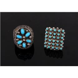 Pair of Navajo Native American Turquoise Rings
