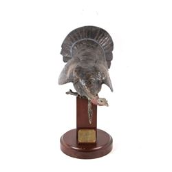 "Bronzed Metal ""Spring Ritual"" Turkey Sculpture"
