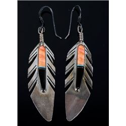Signed Navajo Sterling Silver Multi Stone Earrings