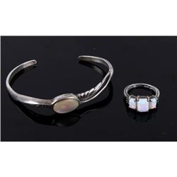 Navajo White Opal Bracelet and Ring Set