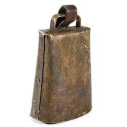 Antique Brass Cow Bell w/ Leather Strap