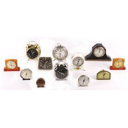 Variety Collection of 12 Wind Up Alarm Clocks