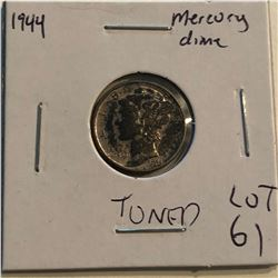 1944 P Mercury Silver Dime Nice Toned Early US Coin