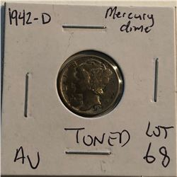 1942 D Roosevelt Silver Dime Nice Toned AU High Grade  Early US Coin