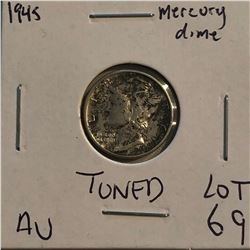 1945 P Roosevelt Silver Dime Nice Toned AU Early US Coin