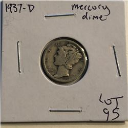 1937 D Mercury Silver Dime Nice Early US Coin