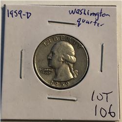 1959 D Washington Silver Quarter Nice Early US Coin