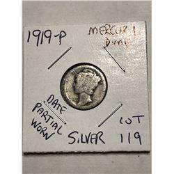 1919 P Silver Mercury Dime Date Partial Worn