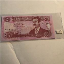 Rare 5 Dinars SUDDAM HUSSEIN IRAQ Bill in UNC Condition