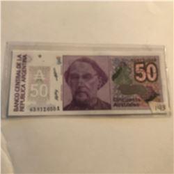 Rare 50 Australes ARGENTINA Bill in UNC Condition
